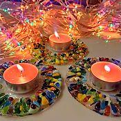 Для дома и интерьера handmade. Livemaster - original item A candle holder made of art stained glass of Ice-fusing. Handmade.