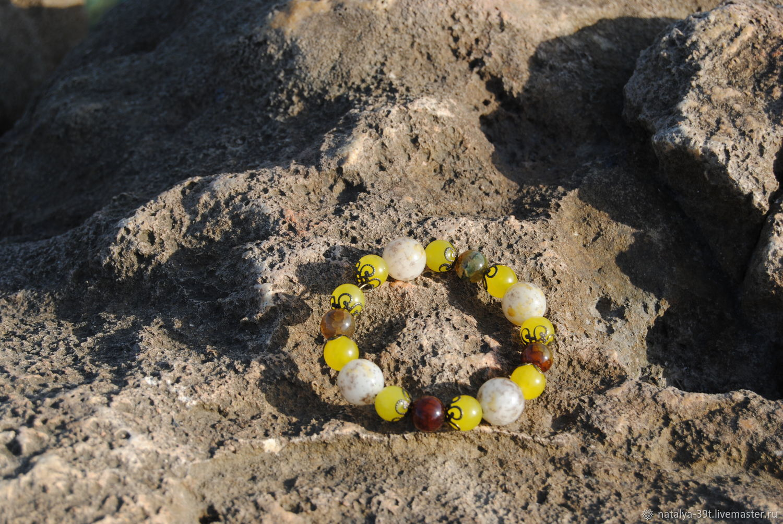 Браслет из желтого топаза и агата, Браслет из бусин, Севастополь,  Фото №1