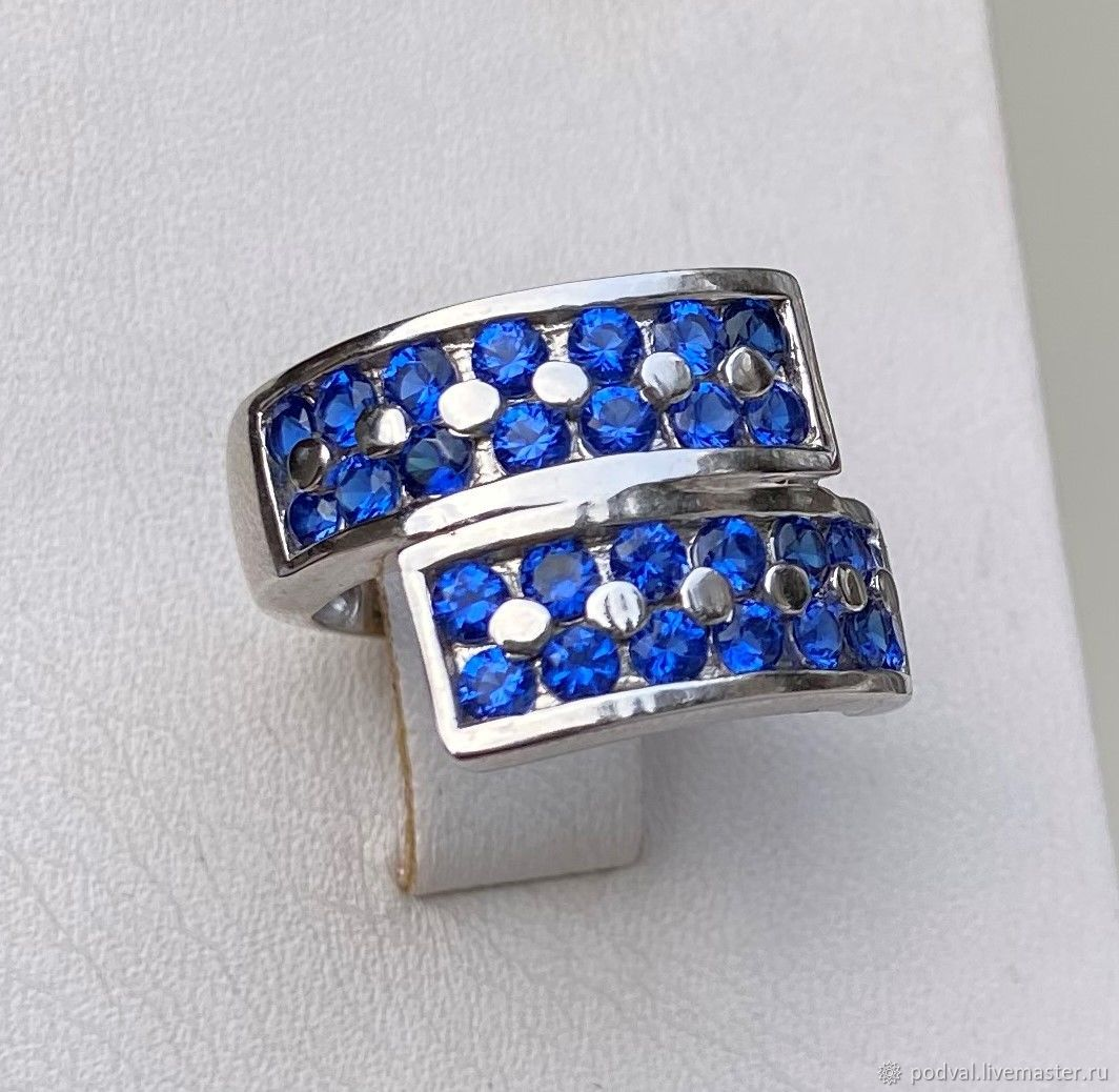Silver ring with colored cubic zirconia 'Graphics'(17), Rings, Korolev,  Фото №1