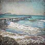 Картины и панно ручной работы. Ярмарка Мастеров - ручная работа картина Брызги, шум и ветер... (морской пейзаж, голубой, бирюзовый). Handmade.