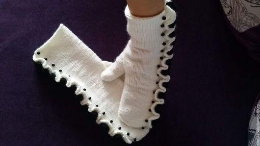 """Варежки, митенки, перчатки ручной работы. Ярмарка Мастеров - ручная работа. Купить Варежки """"Для Мамы"""". Handmade. Белый, рукавички"""