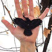 Pendants handmade. Livemaster - original item Leather Heart pendant crow. Handmade.
