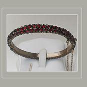 Винтаж ручной работы. Ярмарка Мастеров - ручная работа Старинный браслет с пиропами. Handmade.