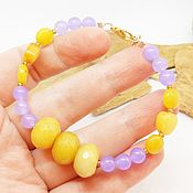 Украшения handmade. Livemaster - original item Bracelet of jade (tone) Honey and lavender. Handmade.