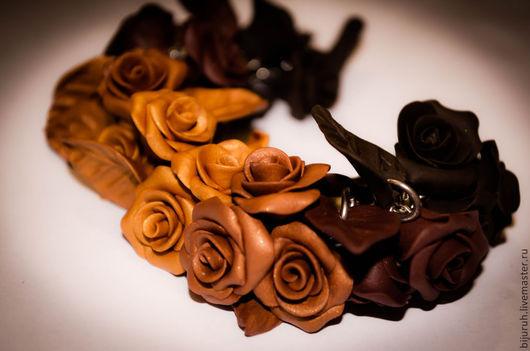 Браслеты ручной работы. Ярмарка Мастеров - ручная работа. Купить Шоколадница. Handmade. Коричневый, золотистый цвет, розы ручной работы