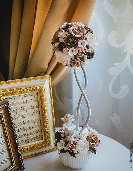 Цветы ручной работы. Ярмарка Мастеров - ручная работа. Купить Мини-топиарий в кофейных тонах. Handmade. Коричневый, цветы