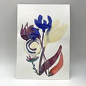 Открытки handmade. Livemaster - original item Watercolor greeting card flowers abstraction. Handmade.