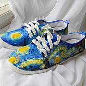 """Обувь ручной работы. Ярмарка Мастеров - ручная работа Кеды """"Ван Гог. Звездная ночь"""", роспись кед, кеды с рисунком.. Handmade."""