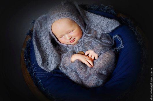 """Для новорожденных, ручной работы. Ярмарка Мастеров - ручная работа. Купить костюм для фотосессии """"Зайка"""". Handmade. Серый, работы для детей"""
