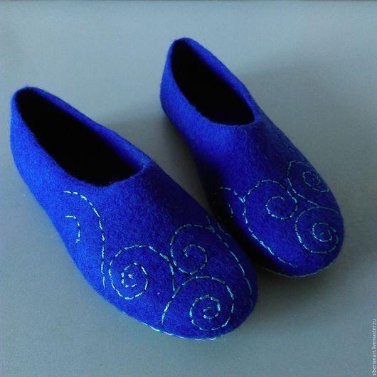 """Обувь ручной работы. Ярмарка Мастеров - ручная работа. Купить Тапочки валяные """"Венецианская ночь"""". Handmade. Тёмно-фиолетовый"""