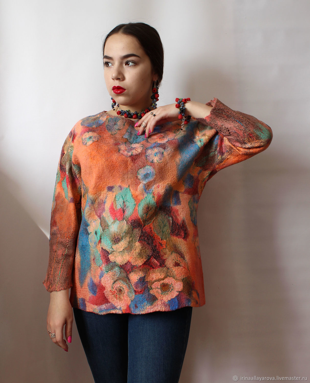 Felted blouse with flowers!, Blouses, Verhneuralsk, Фото №1
