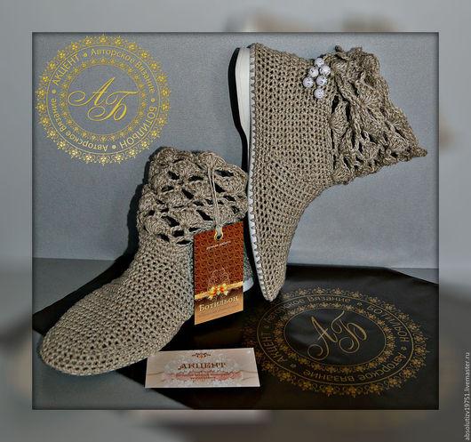 Обувь ручной работы. Ярмарка Мастеров - ручная работа. Купить Ботильоны ..в составе лён...цвет-варёный.... Handmade. Серый