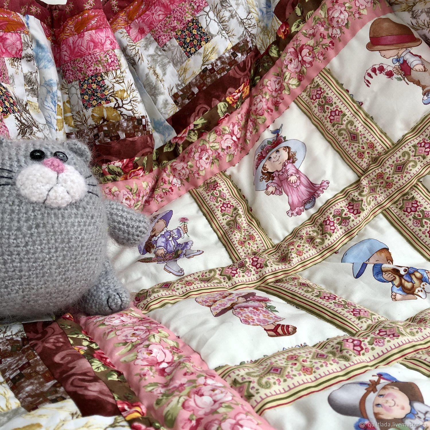 """Quilt """" Pink summer residents"""", Blanket, Moscow,  Фото №1"""
