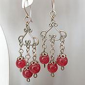Длинные серебряные серьги с кварцем розовые красные