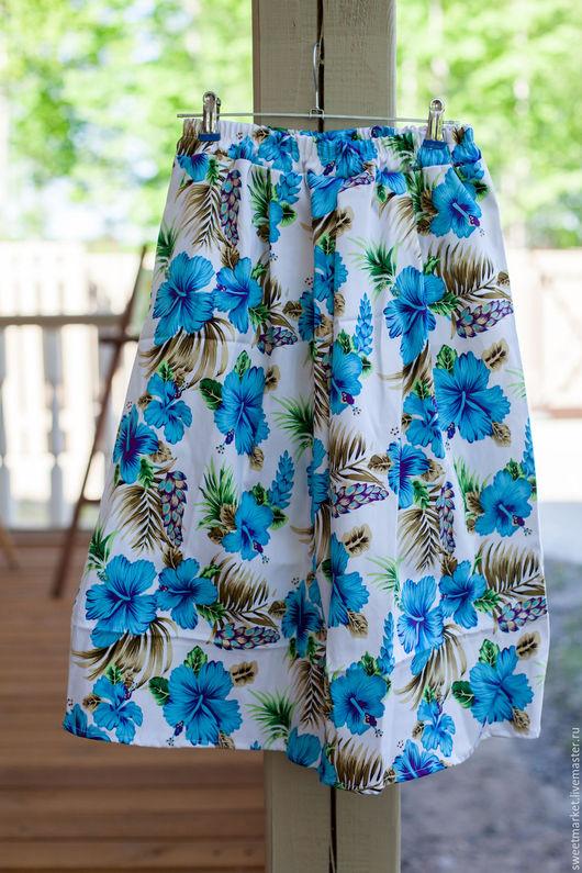 Юбки ручной работы. Ярмарка Мастеров - ручная работа. Купить Летняя юбка-миди. Handmade. Цветочный, юбка на заказ
