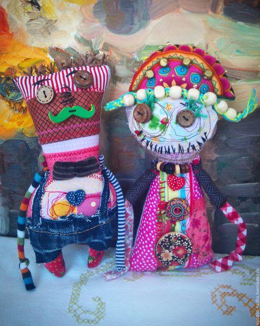 Коллекционные куклы ручной работы. Ярмарка Мастеров - ручная работа. Купить Ситцевые молодожёны) подарок на гововщину свадьбы. Handmade. Комбинированный