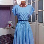 Одежда ручной работы. Ярмарка Мастеров - ручная работа Штапельное платье миди Горошек на голубом 2. Handmade.