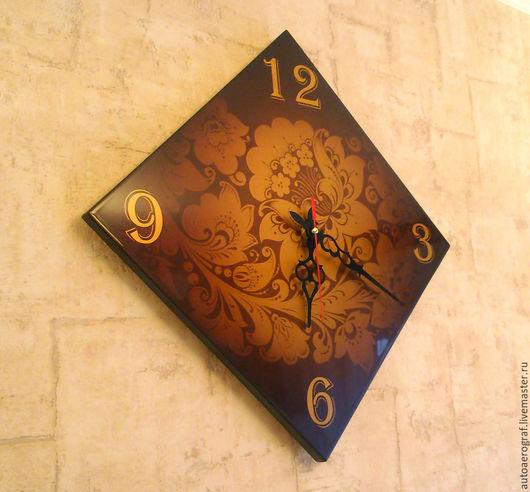Часы для дома ручной работы. Ярмарка Мастеров - ручная работа. Купить аля-хохлома. Handmade. Золотой, аэрография, пластик, краска