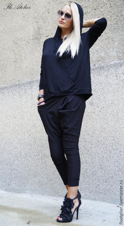 Костюмы ручной работы. Ярмарка Мастеров - ручная работа. Купить Черный ежедневный костюм/Легкие а-симетричные брюки/F1473. Handmade. Черный
