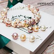 Украшения handmade. Livemaster - original item Jewelry set of pearl and opal