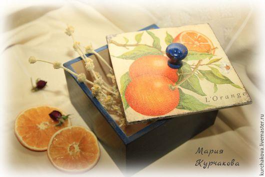 """Кухня ручной работы. Ярмарка Мастеров - ручная работа. Купить Короб для трав """"Сицилийский апельсин"""". Handmade. Тёмно-синий, солнце"""