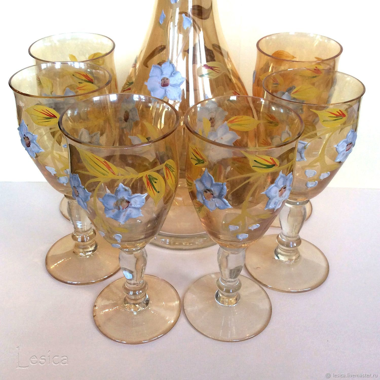 wine set decanter glasses bohemian, Vintage glasses, Ramenskoye,  Фото №1