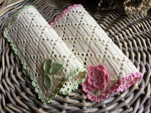 Текстиль, ковры ручной работы. Ярмарка Мастеров - ручная работа. Купить Две салфетки с цветной обвязкой. Handmade. Льняной