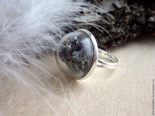 Кольцо Микромир. Кольцо со стеклянным шаром и настоящим мхом. Кольцо безразмерное. Диаметр стеклянной полусферы - 2 см. Купить кольцо стеклянный шар. Купить кольцо со мхом