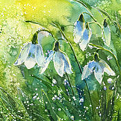 Картины и панно handmade. Livemaster - original item Watercolor painting towards Spring. Watercolor with snowdrops.. Handmade.