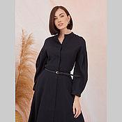 Одежда handmade. Livemaster - original item Black linen dress with stand-up collar. Handmade.