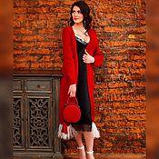 Одежда handmade. Livemaster - original item Red cardigan with feathers. Handmade.