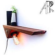 handmade. Livemaster - original item Shelf lamp in Loft style (Loft) from the array with a retro lamp Edison. Handmade.
