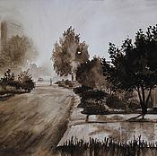 Картины и панно handmade. Livemaster - original item Painting watercolor Morning. Fog. Handmade.