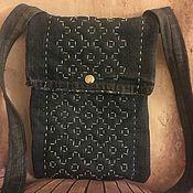 Сумки и аксессуары handmade. Livemaster - original item Denim bag with sashiko embroidery. Handmade.