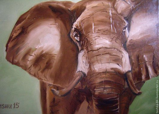 Картина маслом Слон. Ручная работа.