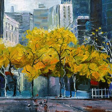 Картины и панно ручной работы. Ярмарка Мастеров - ручная работа Картина город осень , городской пейзаж, картина недорого. Handmade.