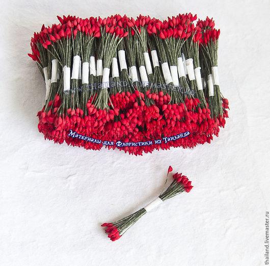 Красные каплевидные тычинки 100 пучков, зеленая нить. Кокосов блюз. Материалы для флористики из Таиланда