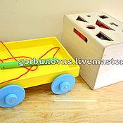 Куклы и игрушки handmade. Livemaster - original item Wooden CONSTRUCTION KIT 4in1 (104 parts) with Cart, Box, Sorter. Handmade.