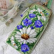 Сумки и аксессуары handmade. Livemaster - original item Eyeglass case beaded Daisies, bells. Handmade.