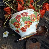 """Для дома и интерьера ручной работы. Ярмарка Мастеров - ручная работа Глиняный горшок """"Настурция"""" для дома, для дачи, в стиле Кантри. Handmade."""