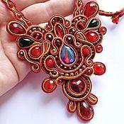 Украшения handmade. Livemaster - original item Red soutache necklace