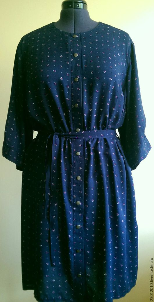 Большие размеры ручной работы. Ярмарка Мастеров - ручная работа. Купить Платье рубашка , без воротника.. Handmade. Тёмно-синий