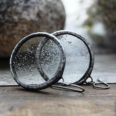 """Украшения ручной работы. Ярмарка Мастеров - ручная работа Серьги """"Дождливые"""" из стекла. Handmade."""