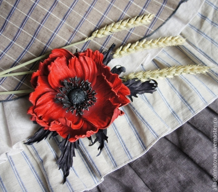 Leather poppy ''Contrasts'', Brooches, Moscow,  Фото №1