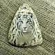 Роспись по камню ручной работы. Ярмарка Мастеров - ручная работа. Купить Белый тигр на пегматите. Handmade. Бежевый, тигр, тигровый