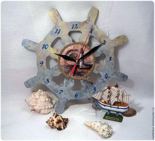 """Часы для дома ручной работы. Ярмарка Мастеров - ручная работа. Купить Часы """"Морское путешествие"""". Handmade. Синий, море, путешествие"""