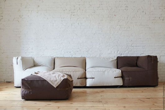 Мебель ручной работы. Ярмарка Мастеров - ручная работа. Купить Модульный диван с пуфом. Handmade. Бежевый, ремешки из кожи, пенополистирол