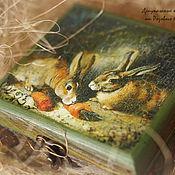 Для дома и интерьера handmade. Livemaster - original item Wooden box Rabbits eating carrot. Handmade.