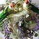 Нежное, интересное деревце, с полюбившейся, многим лавандой!))) деревце выполнено из сизали, декорировано веточками лаванды, различной зеленью, и милые птички свили гнёздышко прямо на лавандовом поле)