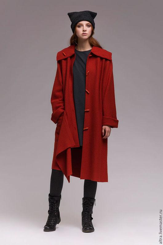 Верхняя одежда ручной работы. Ярмарка Мастеров - ручная работа. Купить Пальто без подкладки. Handmade. Рыжий, пальто из лодена